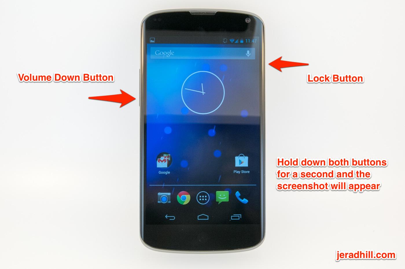 How to take a screenshot with a Google Nexus 4