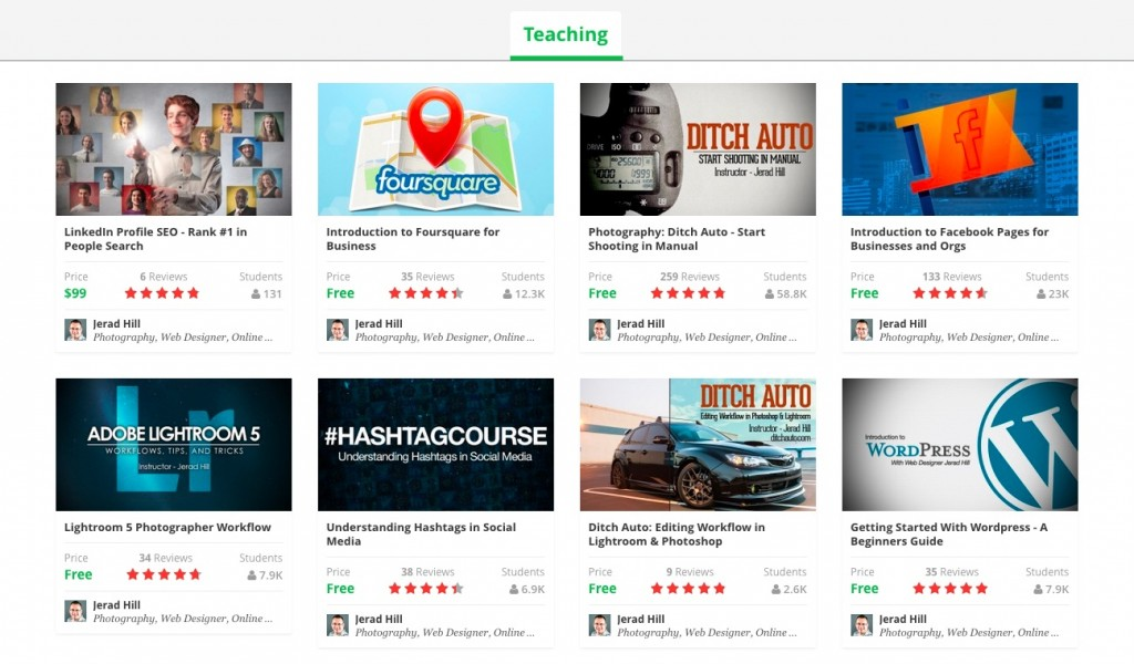 Jerad Hill Udemy Courses